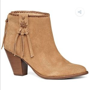 jack rodgers tan healed boots / booties